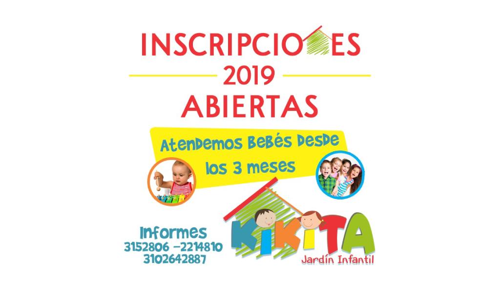 Inscripciones abiertas 2019 en el Jardín Infantil Kikita